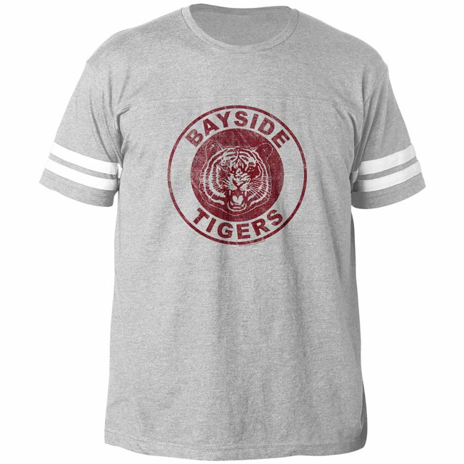 Saved by the Bell Bayside Tigers Gray Heather Adult Football T-Shirt