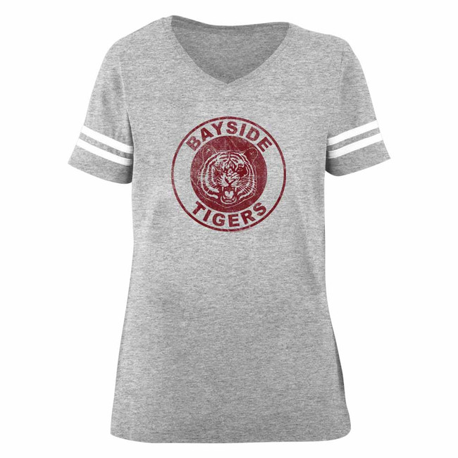 Saved by the Bell Bayside Tigers Gray Heather Junior Women's Football T-Shirt