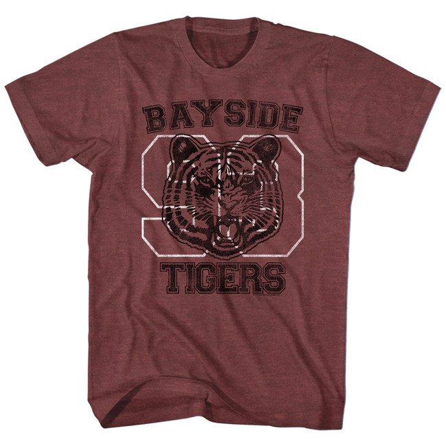 Saved by the Bell Bayside Tigers Vintage Maroon Heather T-Shirt