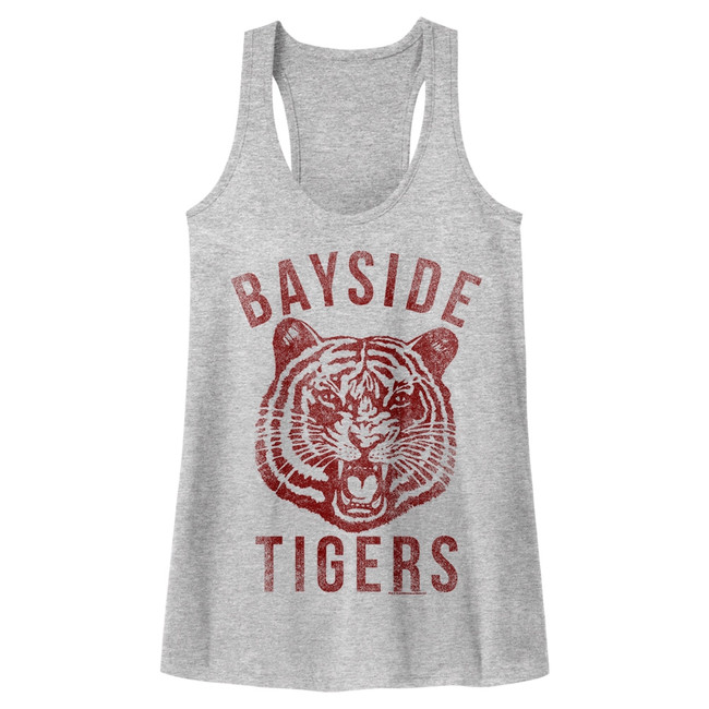 Saved by the Bell Bayside Gray Heather Junior Women's Racerback Tank Top