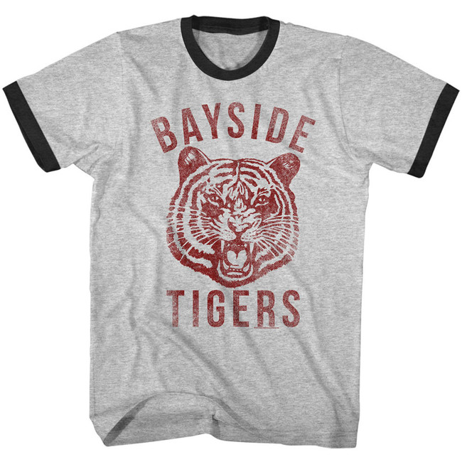 Saved by the Bell Bayside Gray Heather/Black Ringer T-Shirt