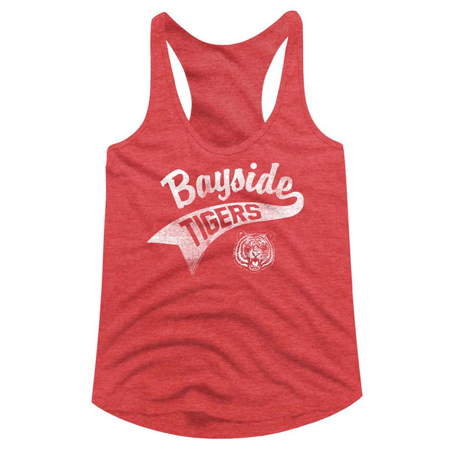 Saved by the Bell Bayside Tail Red Heather Junior Women's Racerback Tank Top