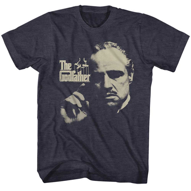 Godfather Finger Waggle Navy Heather Adult T-Shirt