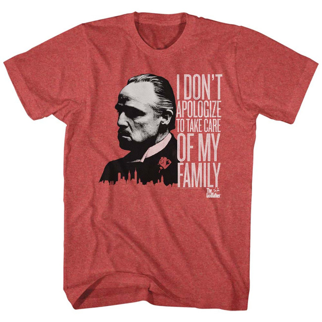 Godfather No Apologies Red Heather Adult T-Shirt