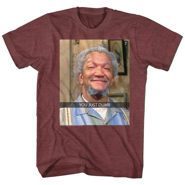 Redd Foxx Sanford and Son You Just Dumb Snap Vintage Maroon Heather T-Shirt