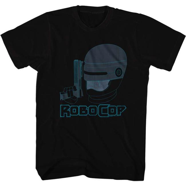 Robocop Faded Blue Black T-Shirt
