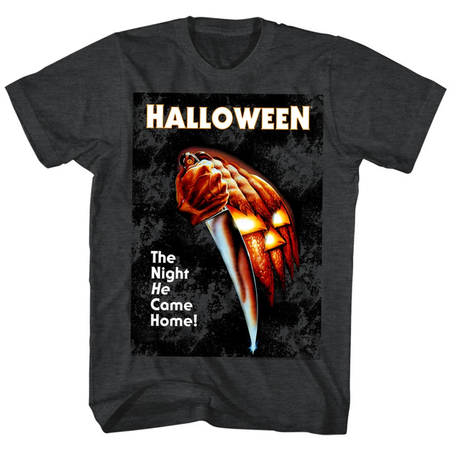 Halloween The Night He Came Home Black Heather Adult T-Shirt