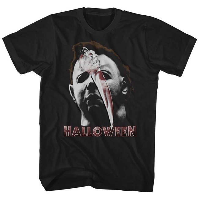 Halloween Mask And Knife Black Adult T-Shirt