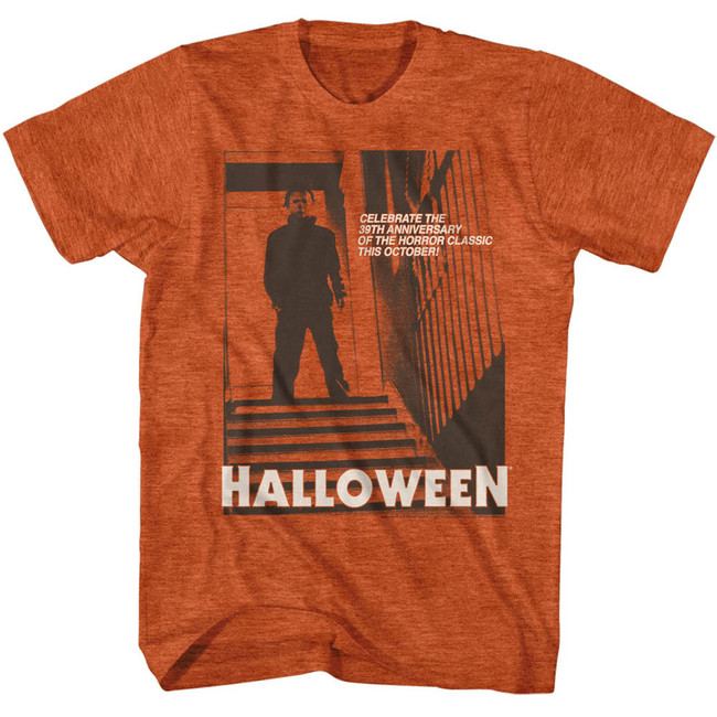 Halloween Stairs Orange Heather Adult T-Shirt