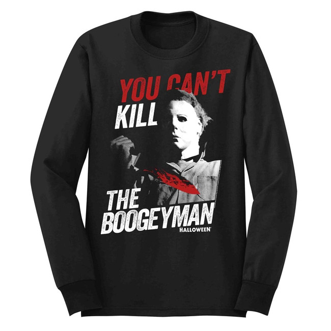 Halloween Boogeyman Black Adult Long Sleeve T-Shirt