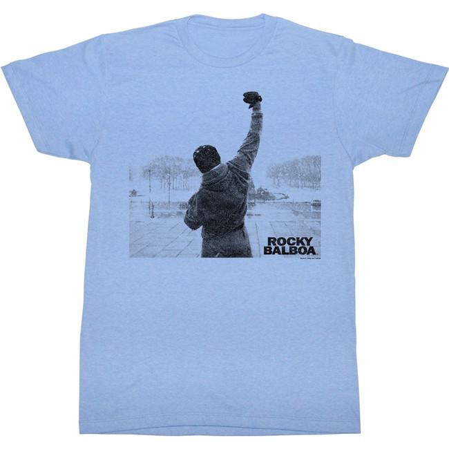 Rocky Balboa Victory Light Blue Heather T-Shirt