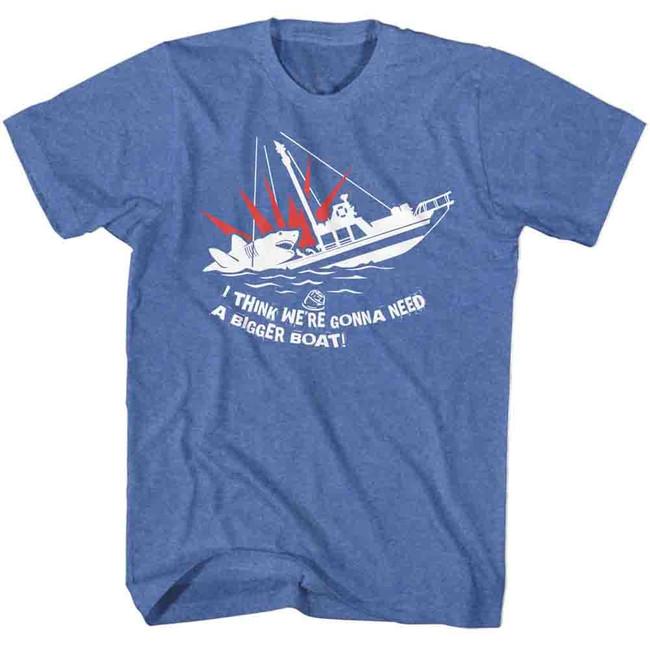 Jaws Bigger Boat Royal Heather Adult T-Shirt