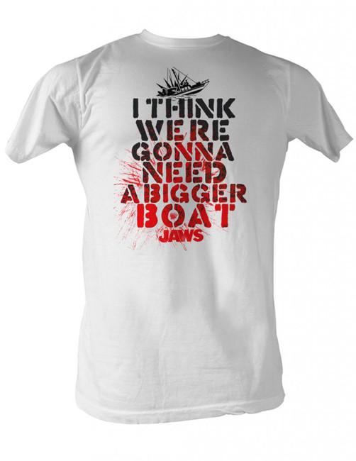 Jaws Bigger Boat White Adult T-Shirt