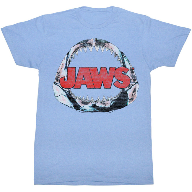 Jaws Bone Light Blue Heather Adult T-Shirt