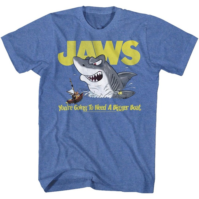 Jaws Cartoon Royal Heather Adult T-Shirt