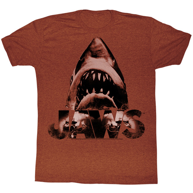 Jaws Burnt Jaws Red Heather Adult T-Shirt