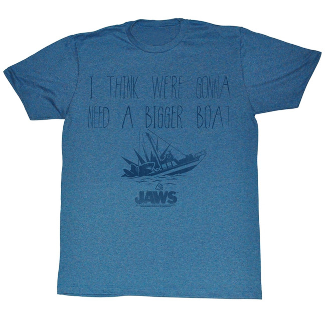 Jaws Bigger Pacific Blue Heather Adult T-Shirt