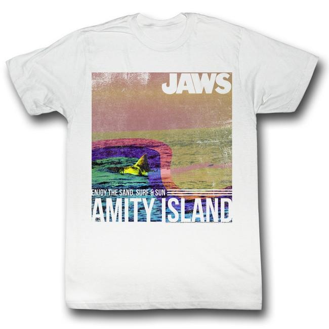 Jaws Amity Island White Adult T-Shirt