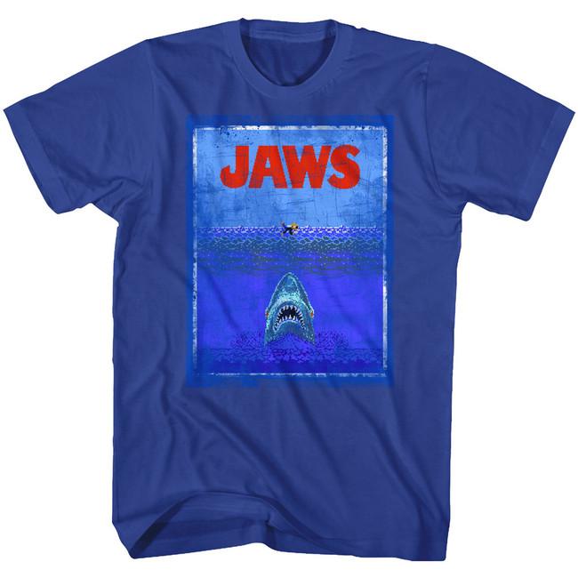 Jaws 8Bit Terror Royal Adult T-Shirt