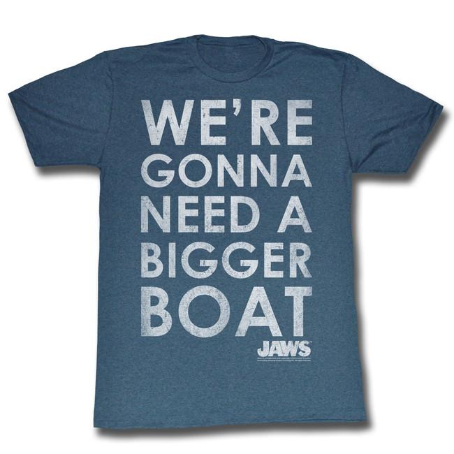 Jaws Bigger Boat Navy Adult T-Shirt