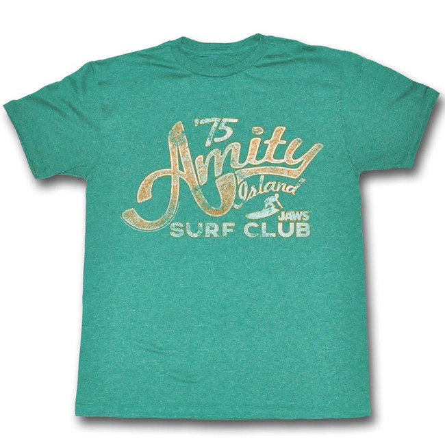 Jaws Amity Green Heather Adult T-Shirt