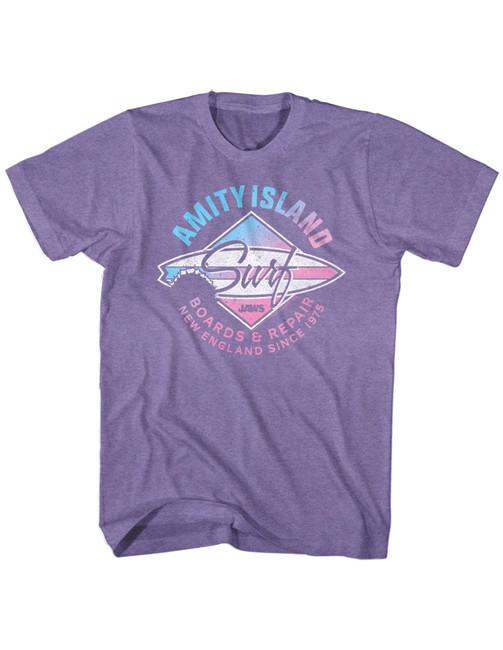Jaws Amity Island Surf Purple Heather Adult T-Shirt