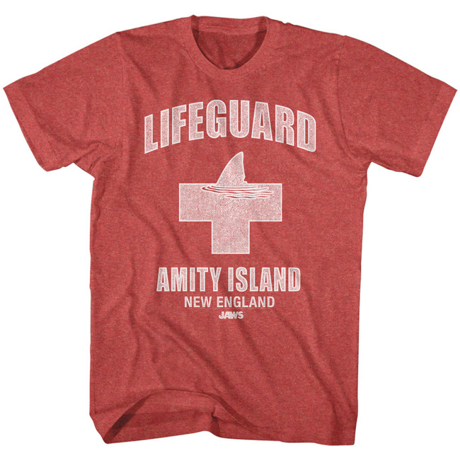 Jaws Amity Lifeguard Red Heather Adult T-Shirt