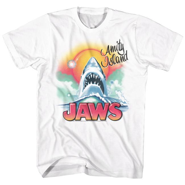Jaws Beachy Airbrush White Adult T-Shirt