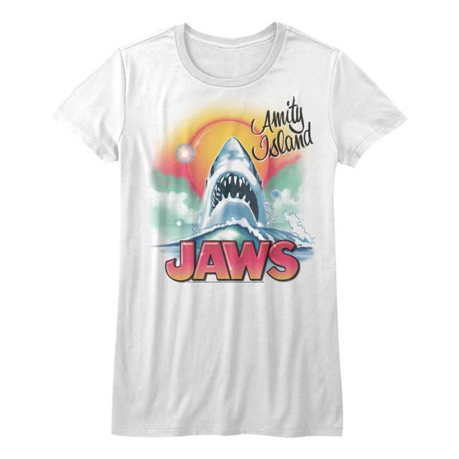 Jaws Beachy Airbrush White Junior Women's T-Shirt