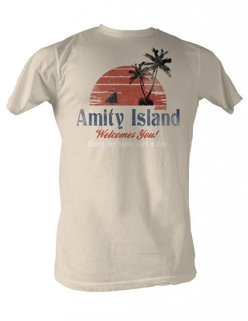 Jaws Amity Island Natural Adult T-Shirt