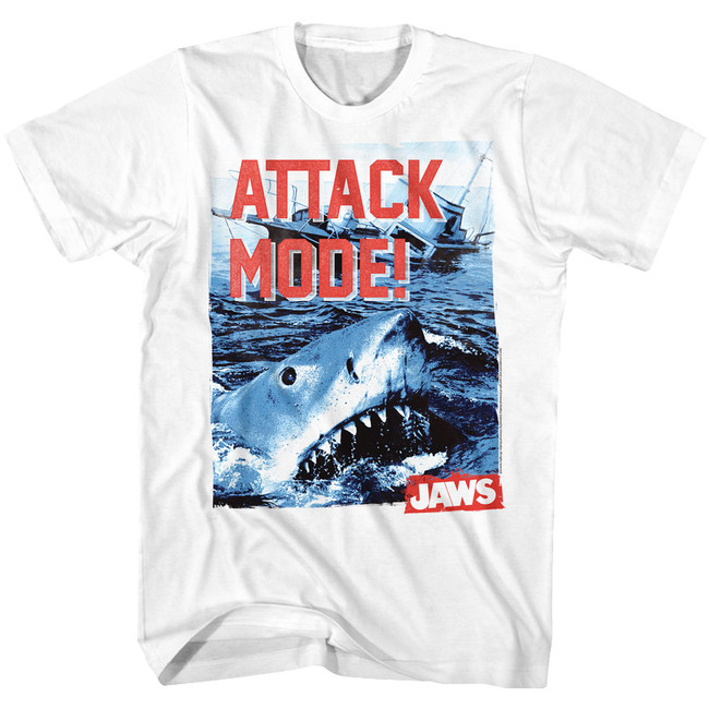 Jaws Attack Mode White Adult T-Shirt