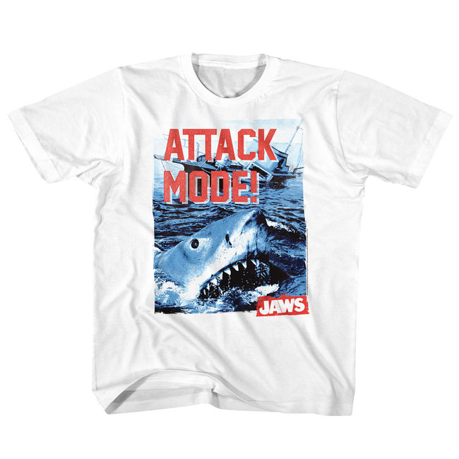 Jaws Attack Mode White Youth T-Shirt