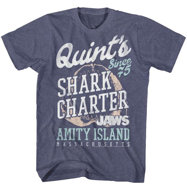 Jaws Quint's Vintage Blue Heather Adult T-Shirt