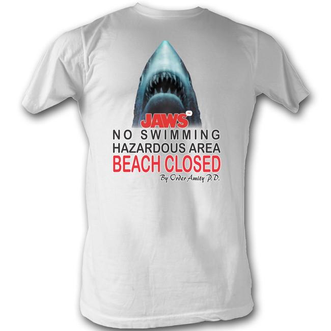 Jaws Beach Closed White Adult T-Shirt