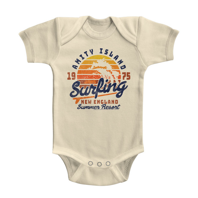Jaws Amity Surfing Natural Baby Onesie T-Shirt