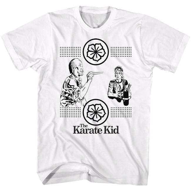 Karate Kid Chopstick Stamp White Adult T-Shirt