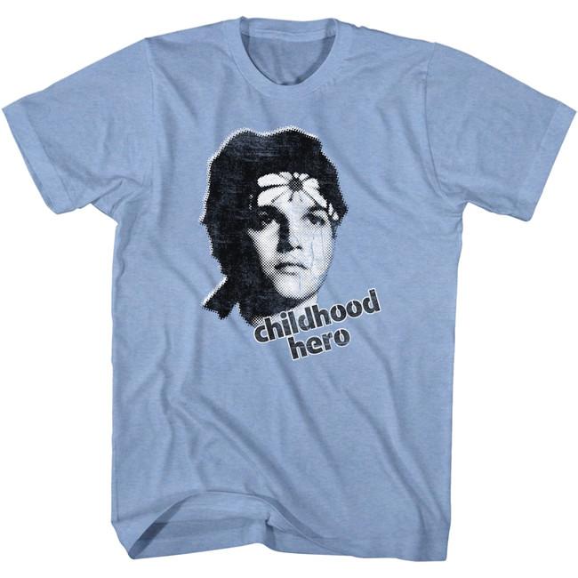 Karate Kid Childhood Hero Light Blue Heather Adult T-Shirt
