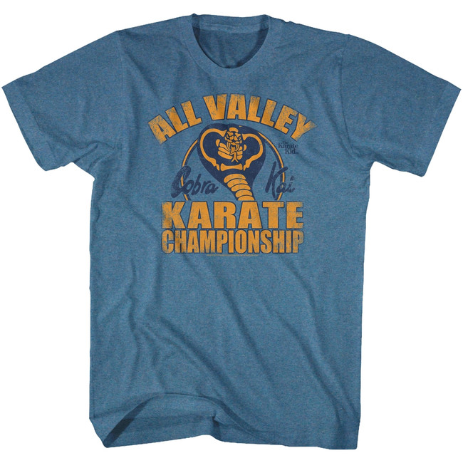 Karate Kid All Valley Pacific Blue Heather Adult T-Shirt
