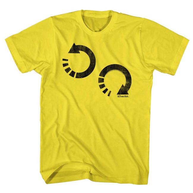 Karate Kid Arrow Wax On Yellow Adult T-Shirt