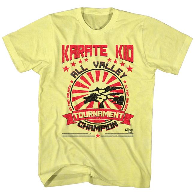 Karate Kid Balanced Champion Yellow Heather Adult T-Shirt