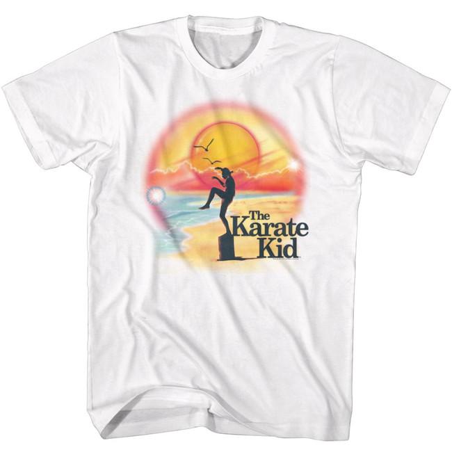 Karate Kid Airbrush Beach White Adult T-Shirt