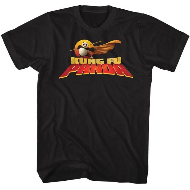 Kung Fu Panda Cape Flare Logo Black Adult T-Shirt