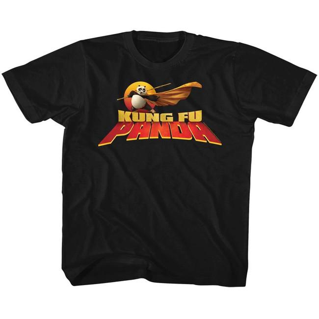 Kung Fu Panda Cape Flare Logo Black Children's T-Shirt