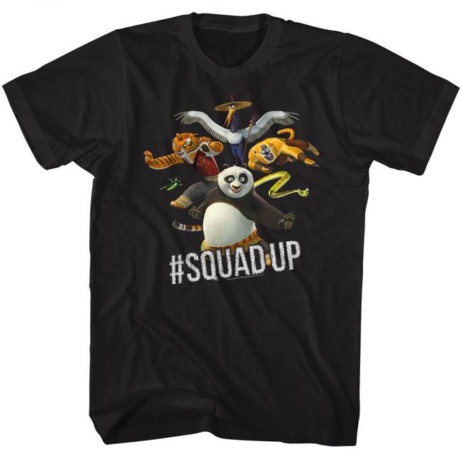 Kung Fu Panda Squad Up Black Adult T-Shirt