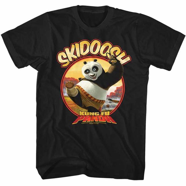 Kung Fu Panda Skidoosh Black Adult T-Shirt