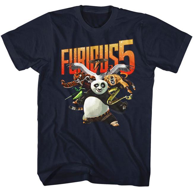 Kung Fu Panda Furious Five Navy Adult T-Shirt