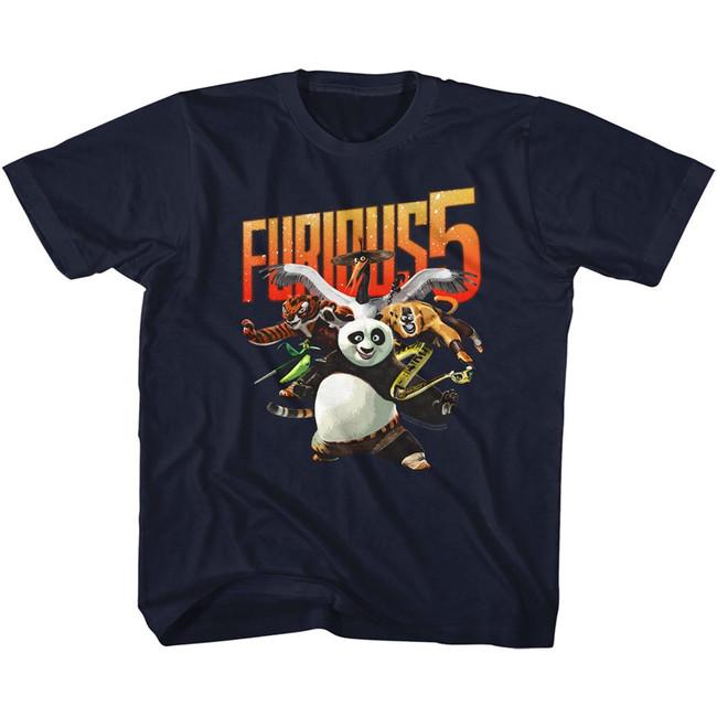 Kung Fu Panda Furious Five Navy Children's T-Shirt