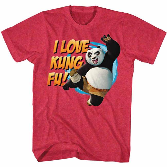 Kung Fu Panda Love Kung Fu Cherry Heather Adult T-Shirt