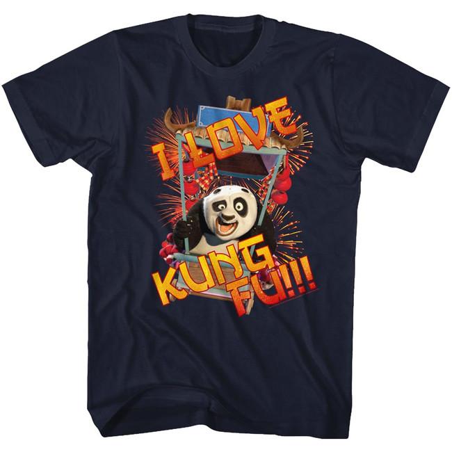 Kung Fu Panda Love Navy Adult T-Shirt