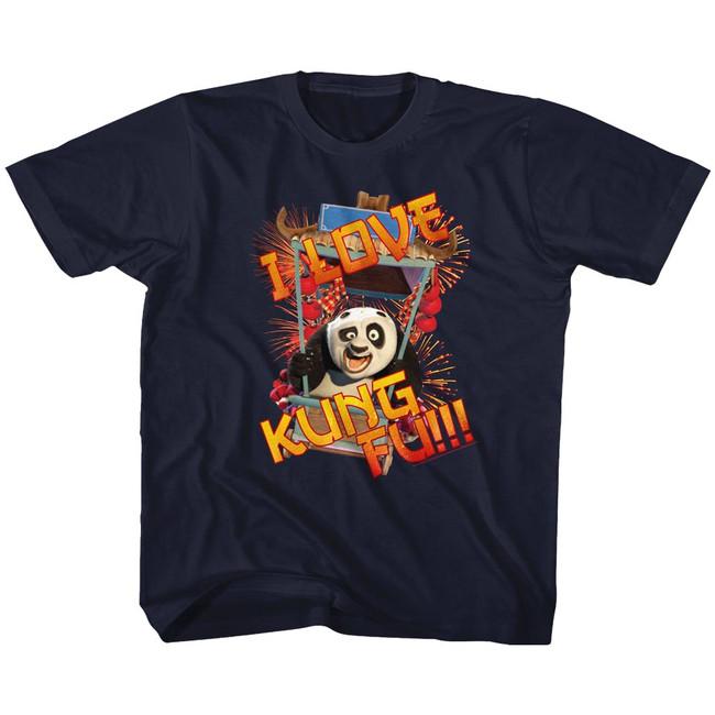 Kung Fu Panda Love Navy Youth T-Shirt